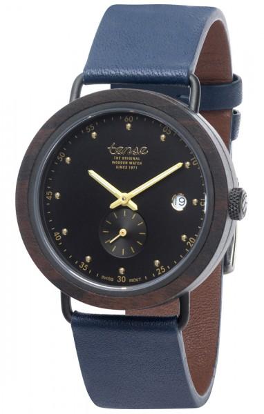 TENSE Holzuhr // Hudson Leather Hybrid Black Oak-schwarz