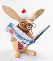 Weihnachtsvorleser Hase mit Weihnachts Buch - Löffelohr 24cm - Wolkensteiner Löffelohr