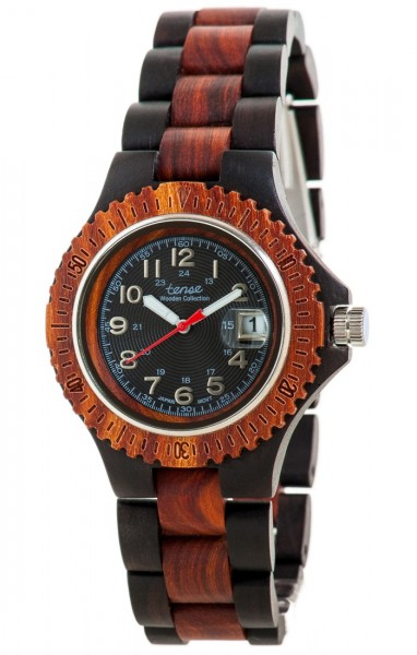 TENSE Holzuhr // Womens Compass Black Oak Karriholz