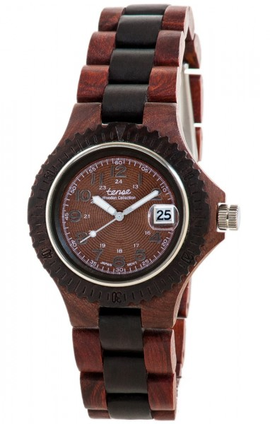 TENSE Holzuhr // Mens Compass Karriholz Black Oak