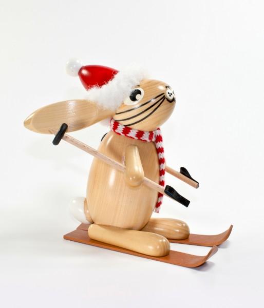 Weihnachtshase mit Ski Löffelohr 17cm - Wolkensteiner Löffelohr